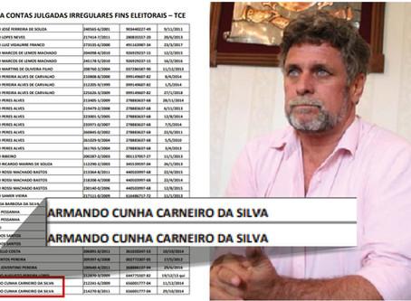 Armando Carneiro está na lista de fichas-sujas do TCE