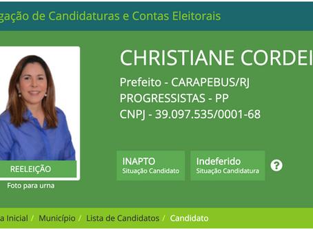 Carapebus: Cristiane Cordeiro tem registro de candidatura negado pela Justiça Eleitoral