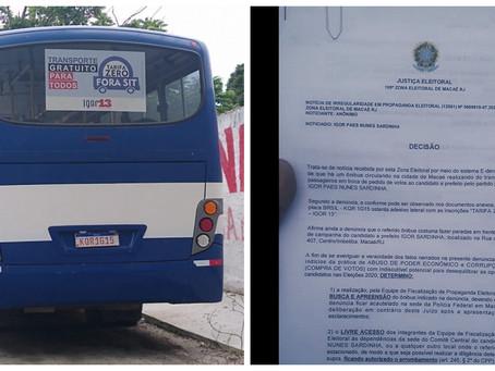 URGENTE: Polícia Federal apreende ônibus de Igor transportando eleitores de graça