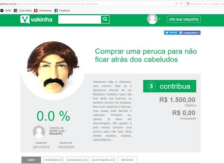 Blogueiro careca pede doação na internet para comprar peruca