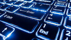 neon-keyboard-with-enter-button-focus-on