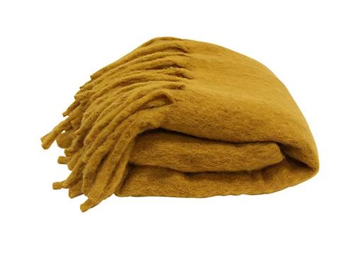 Solid Fringed Mustard Throw