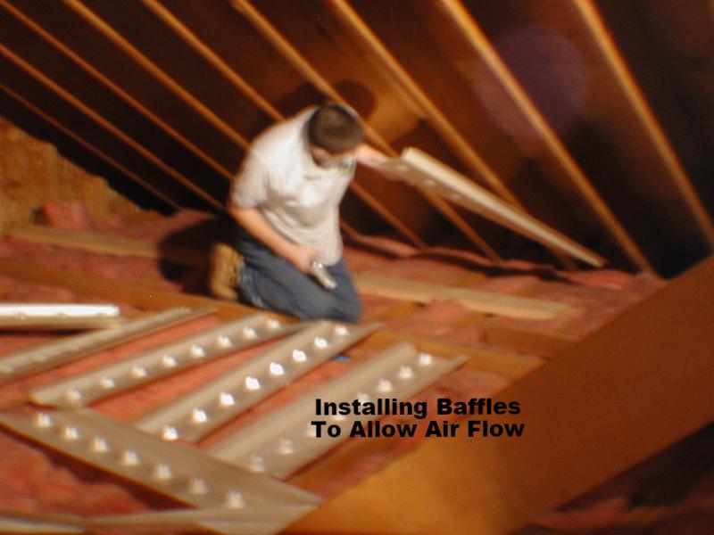 Installing baffles.