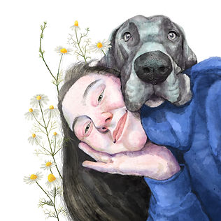 woman with dog digital portrait watercolor pets with nature and flowers