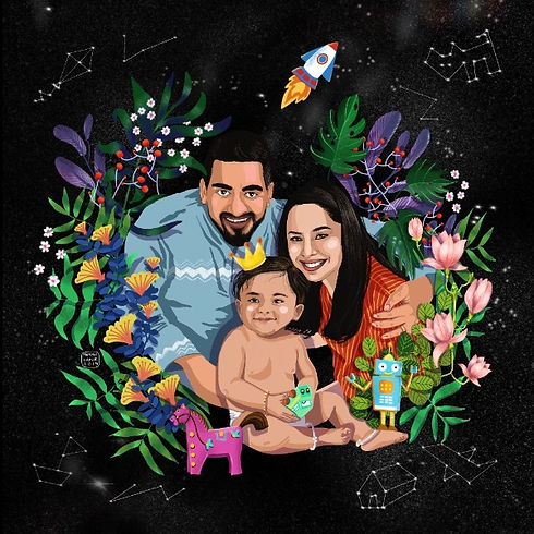 digital portrait of family mother father child space toys