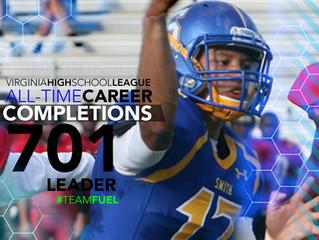 VHSL all-time completions career leader!