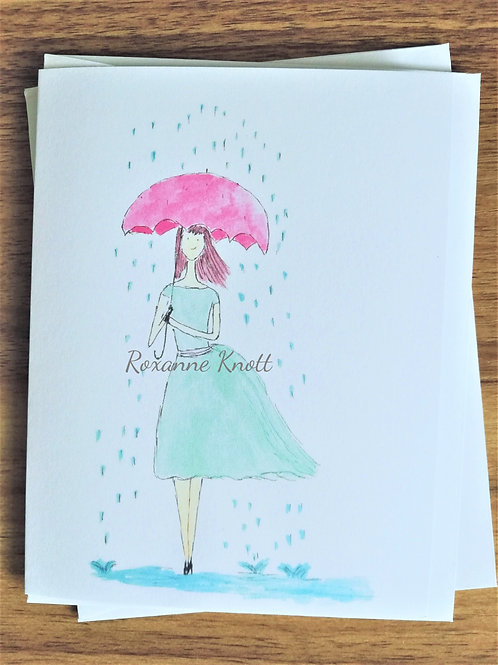 A walk in the rain - Greeting card (blank inside)