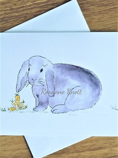 Bunny & the carrots - Greeting card (blank inside)