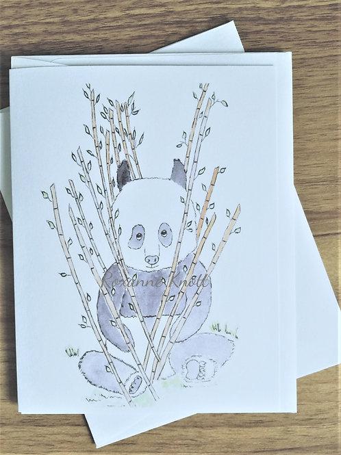 Bamboo & the panda - Greeting card (blank inside)