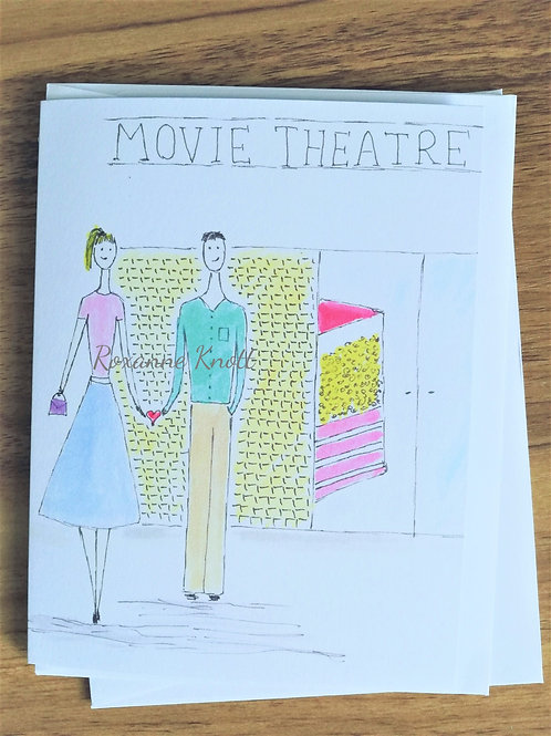 At the movies - Greeting card (blank inside)