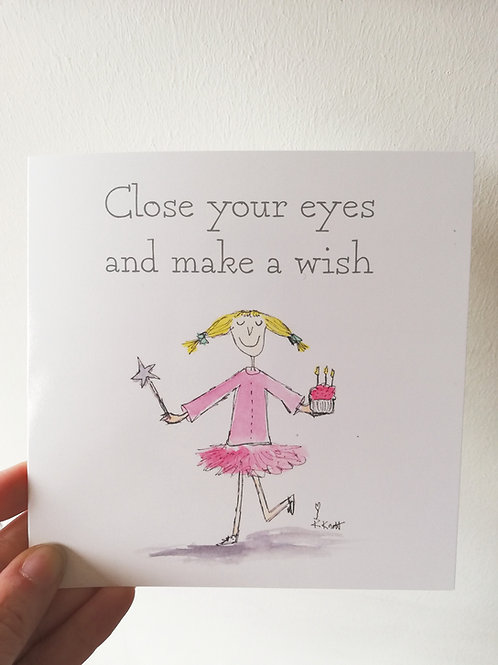 Close your eyes and make a wish - Card