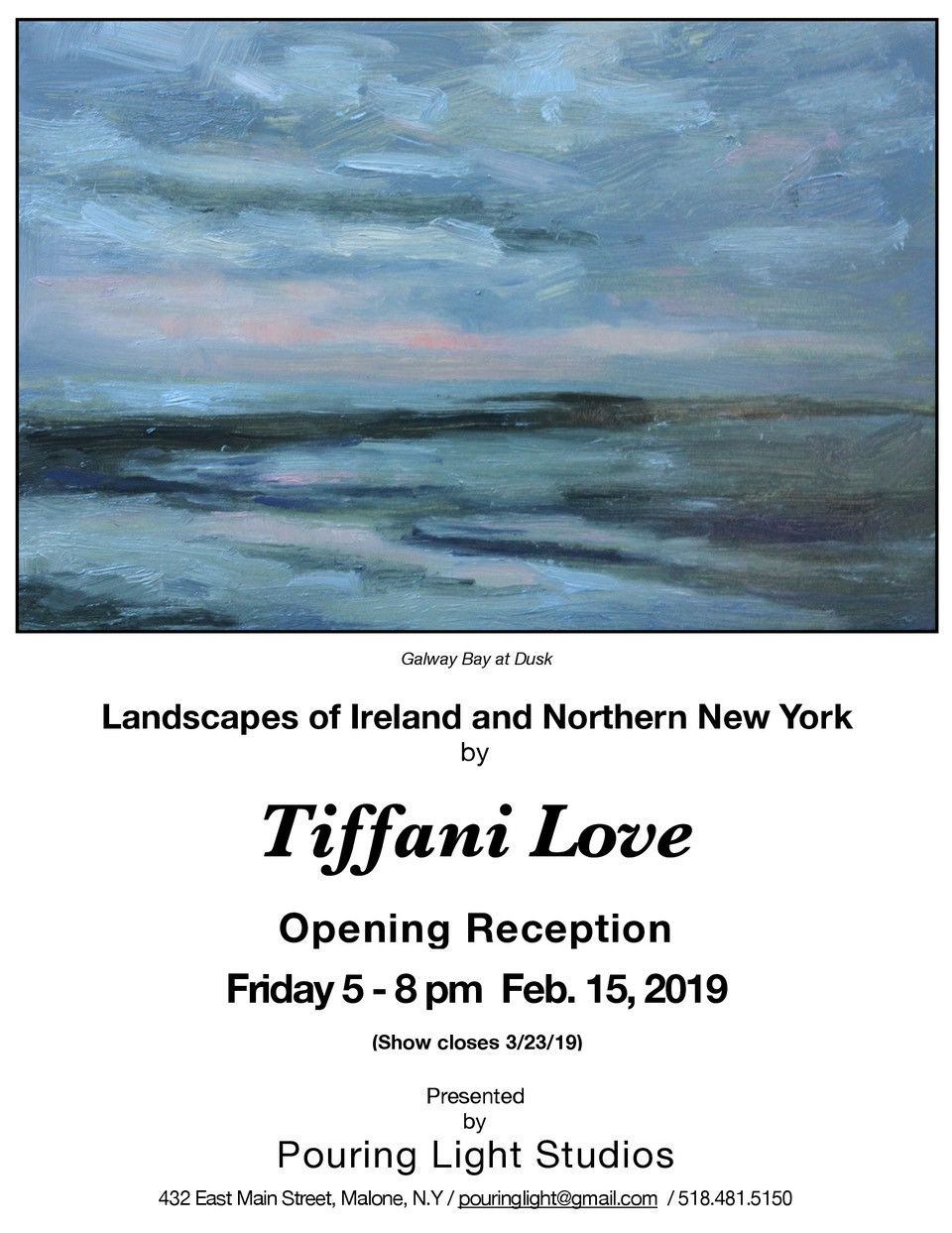 Landscapes of Ireland and Northern New York at Pouring Light Studios