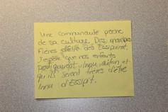Une communauté proche de sa culture. Des membres fiers d'être Essipiunnuat. J'espère que nos enfants pratiqueront l'innu-aitun et qu'ils seront fiers d'être Innus d'Essipit.