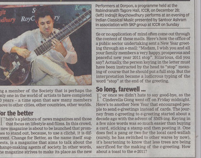 Times of India January 3rd