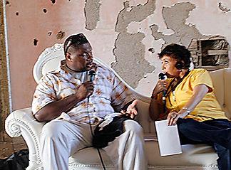 Interviewing Trombonist Wycliffe Gordon at Newport Jazz Festival