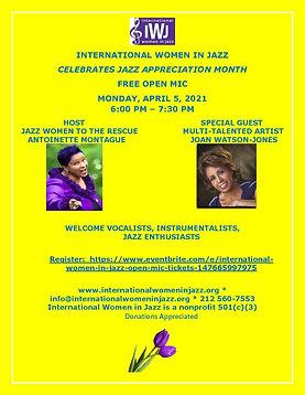 International Women in Jazz flyer for April Live Stream performance.