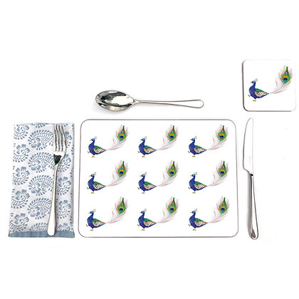 Peacock pattern table mats