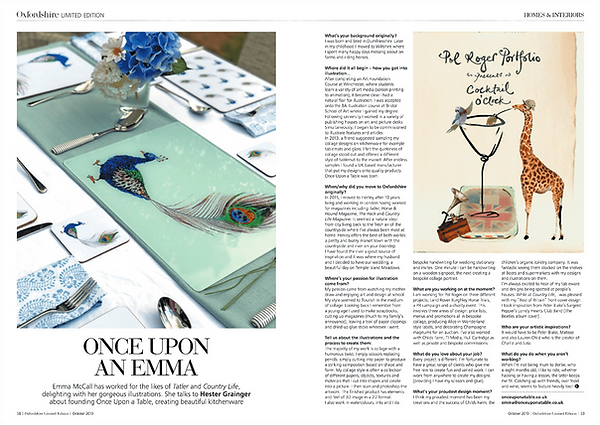 Once Upon a Table featured in Oxfordshire Limited Edition Magazine. Emma Earnshaw, owner and founder, talks about her designs, inspiration and story behind the brand.