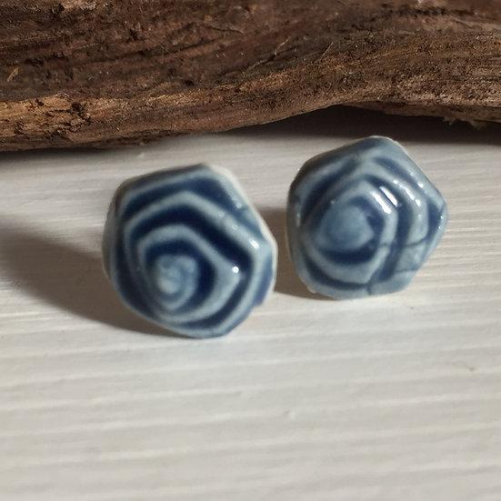 Rose porcelain stud earrings
