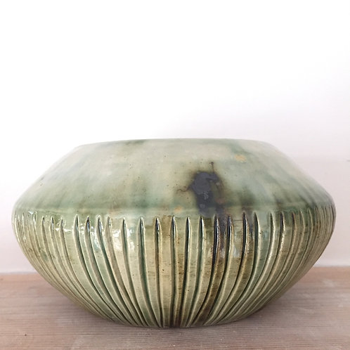 Fluted green bowl