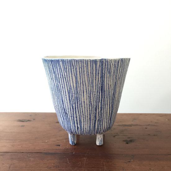 Blue striped planter