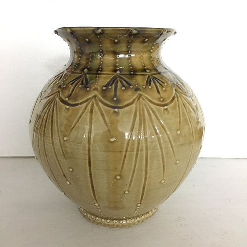 Ochre carved pot