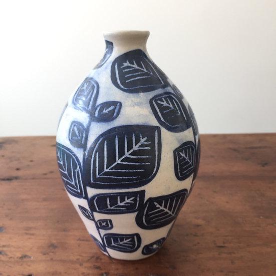 Blue leaf bottle vase