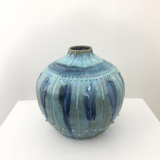 Textured turquoise bud vase