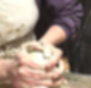 Michelle Foote Pottery - centering Cornish clay on a Leach kick wheel