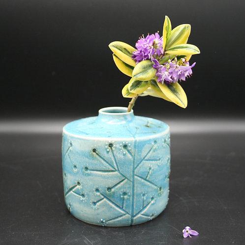 Spring blossom carved pot