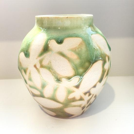 Celadon green leafy vase
