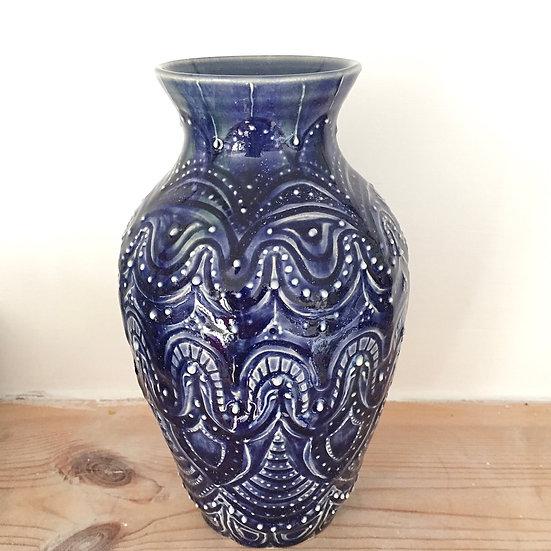 Carved blue vase