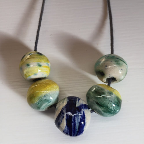 North Cornish coast ceramic bead necklace