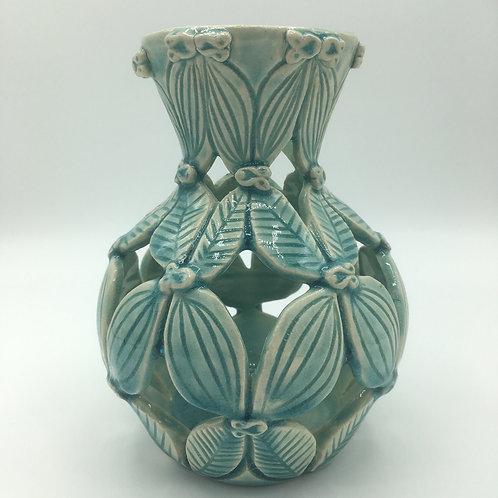 Carved leaf vase