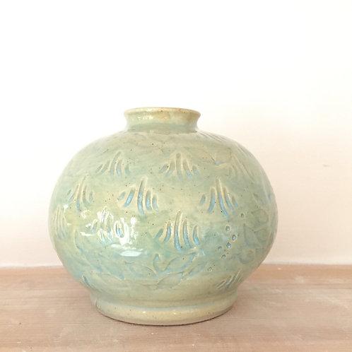 Celadon stoneware pot
