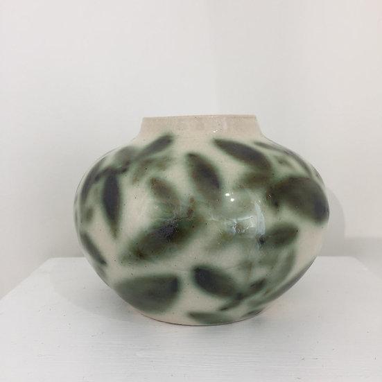 Leaf painted pot