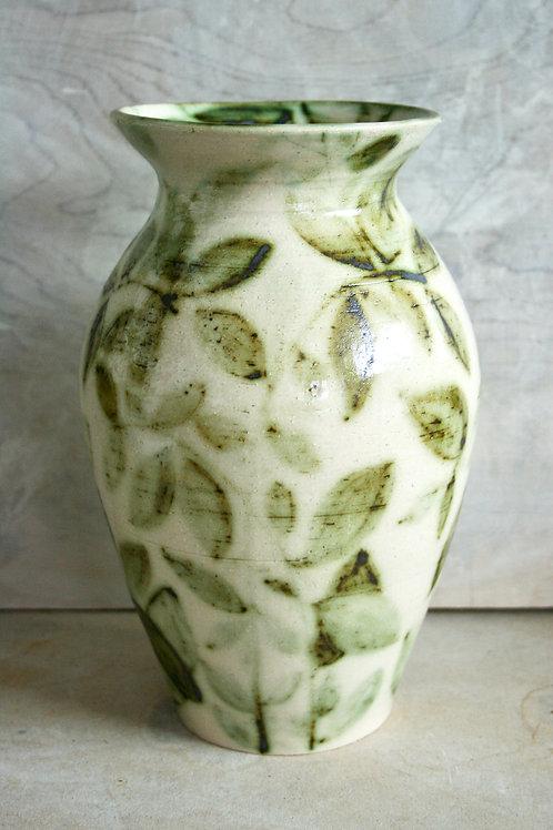 Leaf painted vase