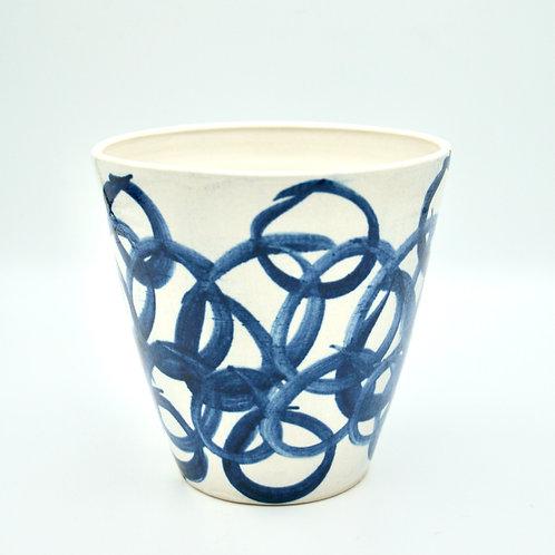 Cobalt blue link patterned pot
