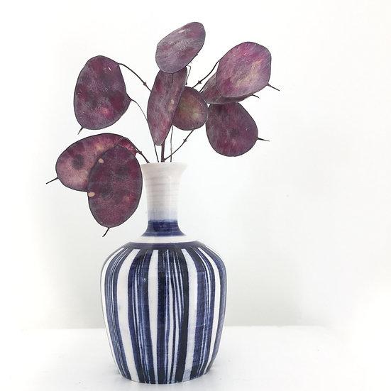 Blue stripe porcelain bud vase