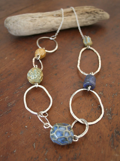 Handmade ceramic bead and Sterling Silver necklace