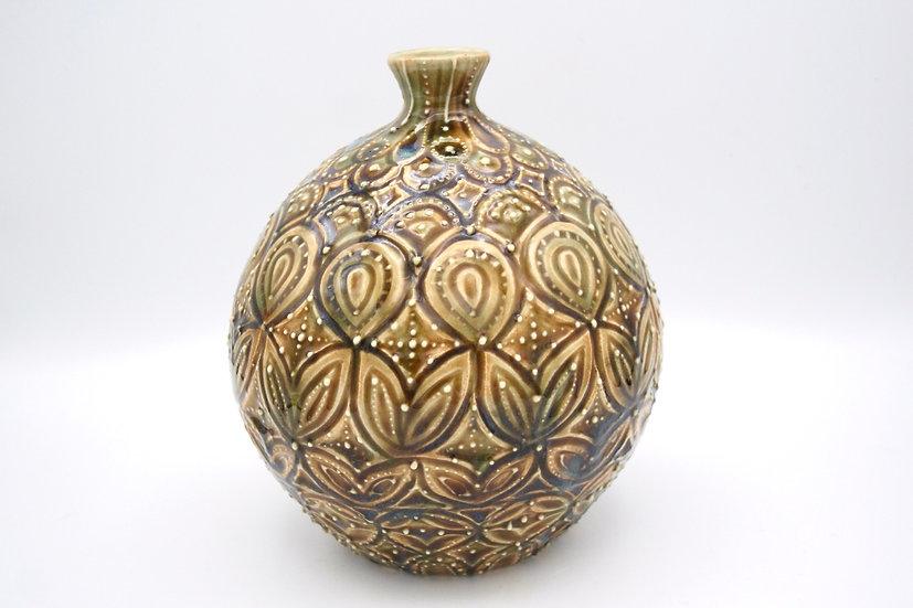 Carved Ochre Pot