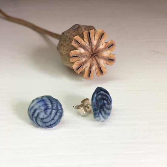 Blue swirl porcelain stud earrings