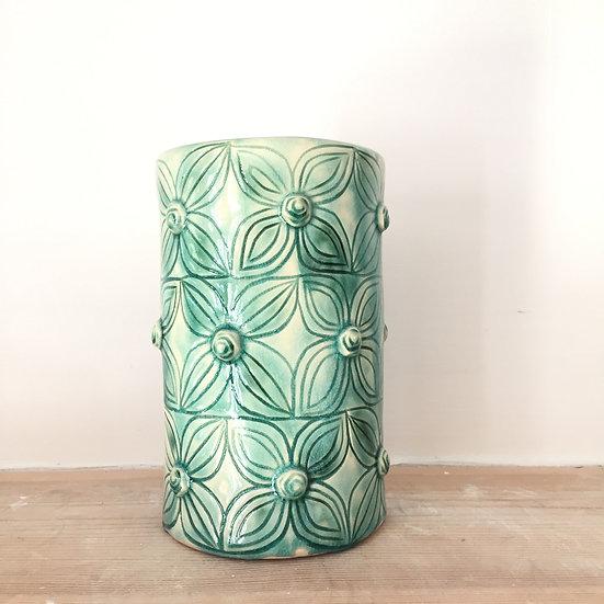 Aqua rosebud cylinder vase