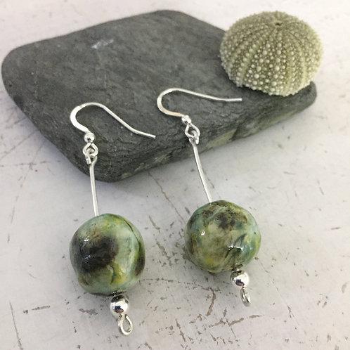 Green ceramic bead dangly earrings