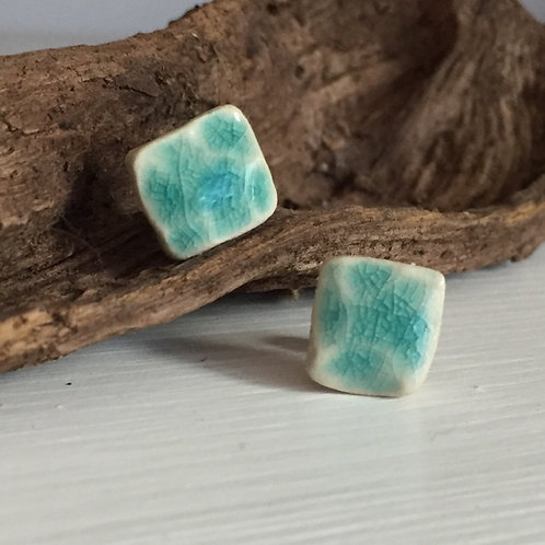 Aqua textured stud earrings
