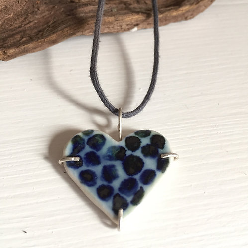 Dotted cobalt blue porcelain heart pendant