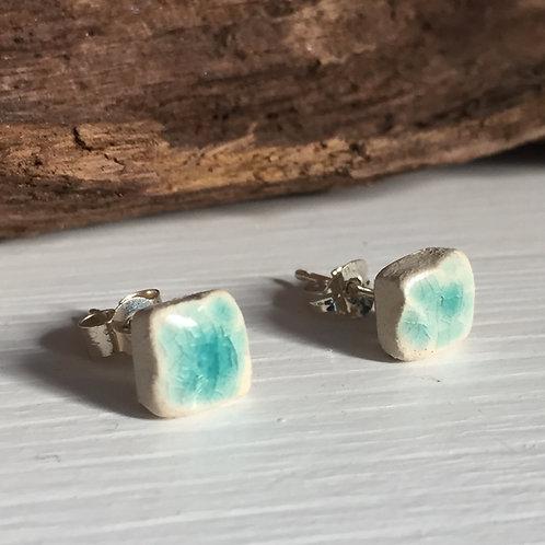 Small square textured aqua stud earrings