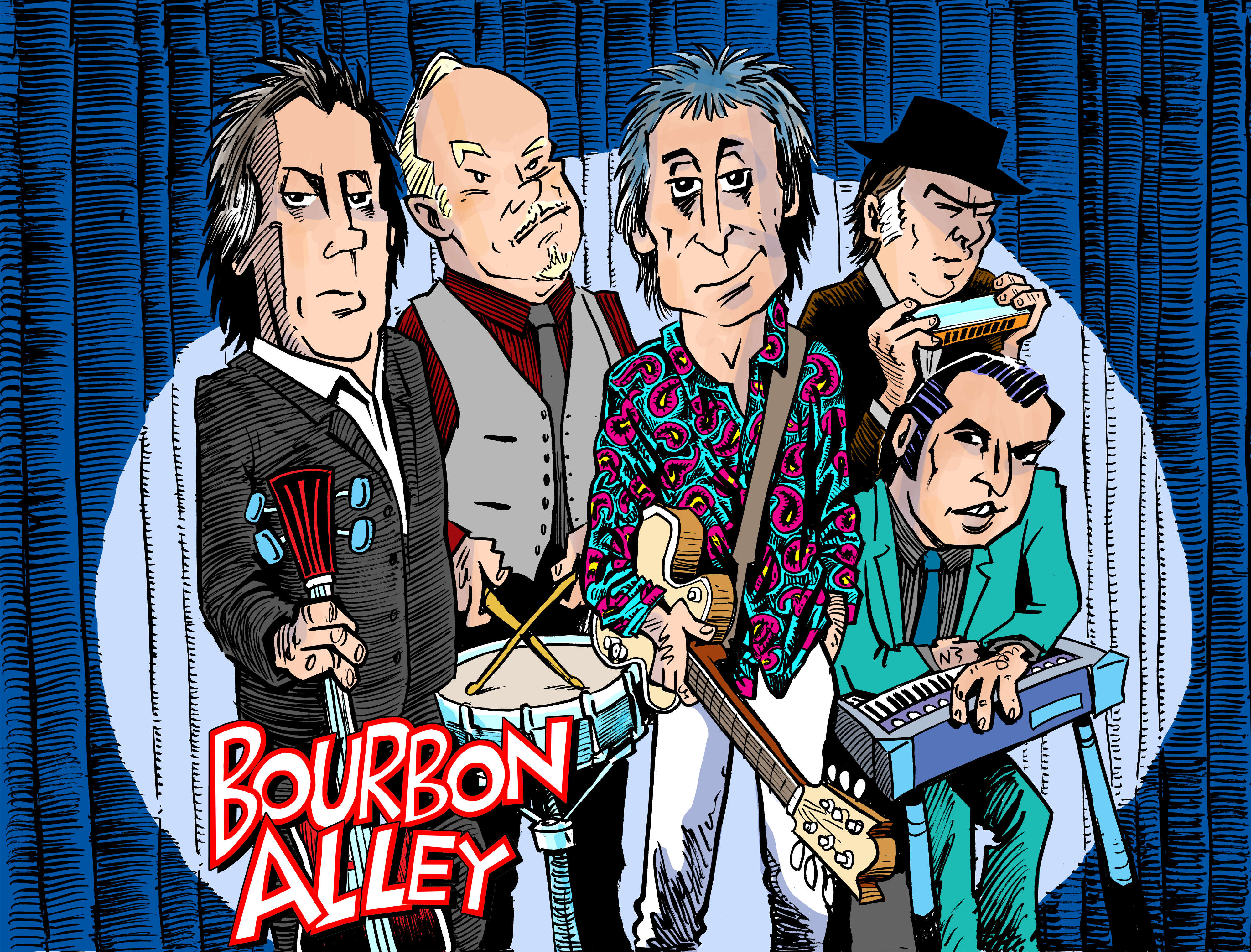 BOURBON ALLEY CARTOON colour with letter