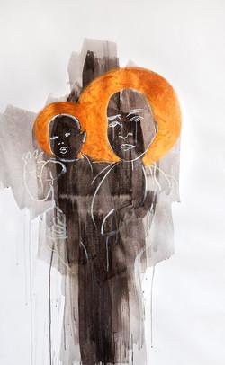 The black Madona, mixes media on canvas, 160x90cm 2014