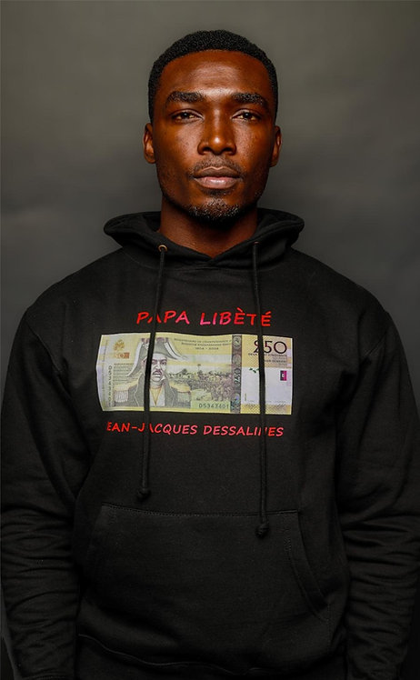 Papa Libèté (Father of Liberty) Black Hoodie Sweatshirt